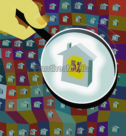 hand magnifying house interest rates