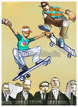 boys on skateboards