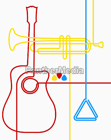 guitar trumpet and triangle