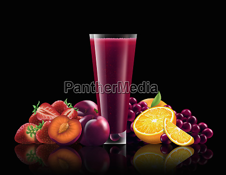 glass of strawberry plum red grape