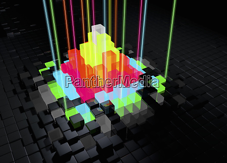 abstract bright multicolored blocks with laser