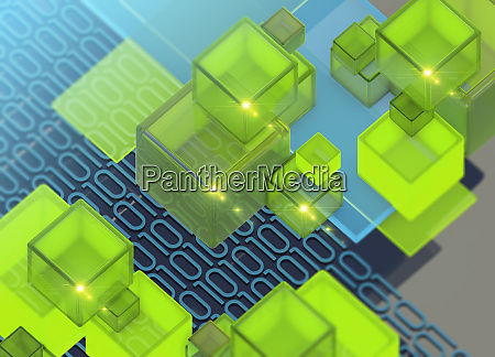 brightly coloured blocks and binary code