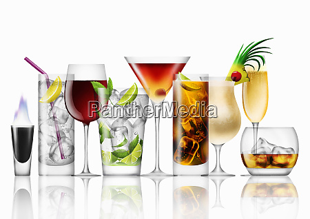 variety of cocktails in a row