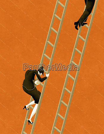 working woman descending ladder while co