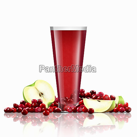 fresh cranberries and slices of apple