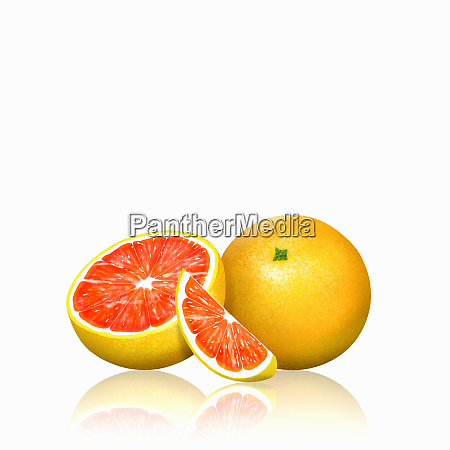 fresh pink grapefruit whole half and