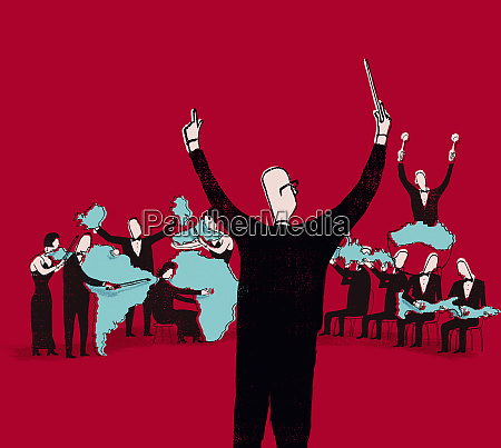 conductor directing international orchestra