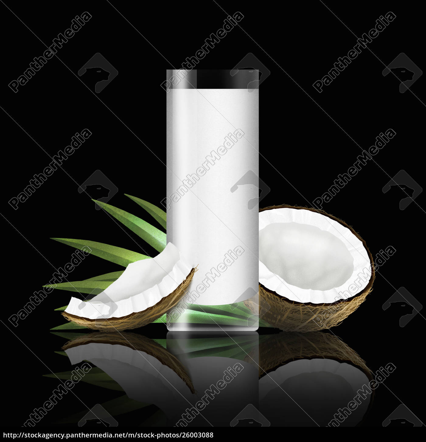 glass, of, coconut, milk, with, pieces - 26003088