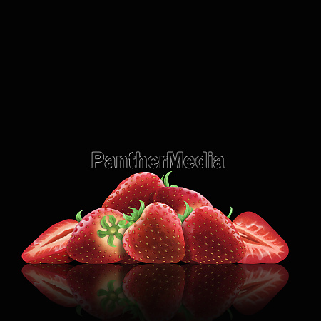 whole, and, cut, fresh, strawberries - 26003070