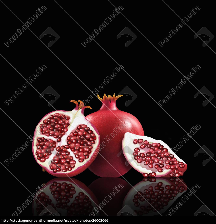 whole, and, cut, pomegranates - 26003066