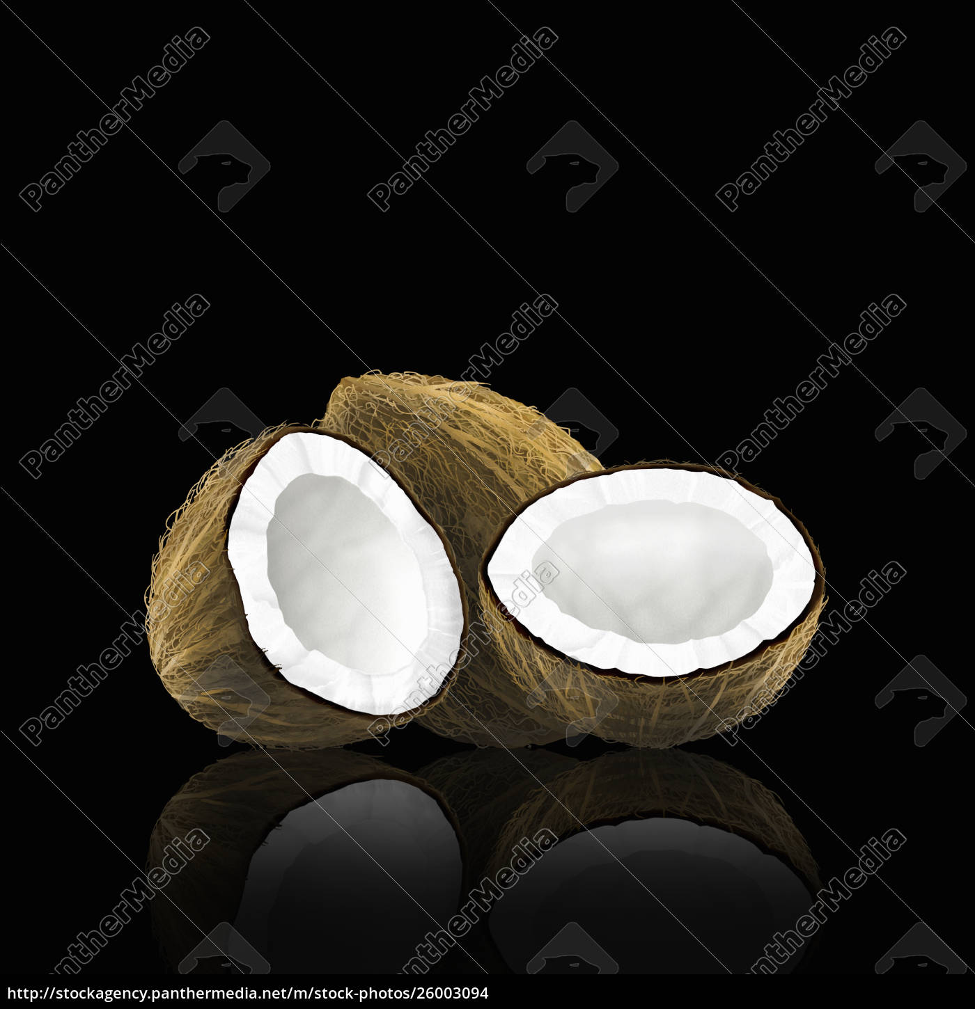 whole, and, halved, coconut - 26003094