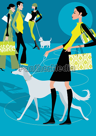 people walking dogs and carrying shopping