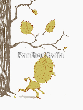 man with leaf head moving away