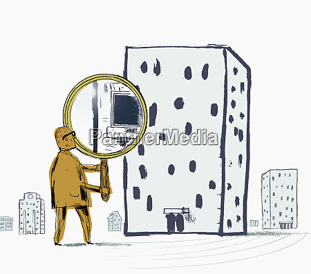 man looking through building with large