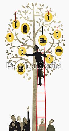 man on ladder reaching for key