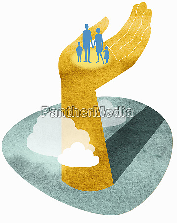 family standing in large hand