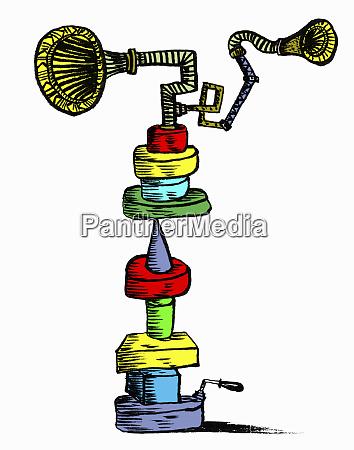 gramophone speakers balancing on toy blocks