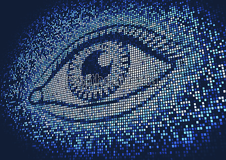 eye lit up on huge digital