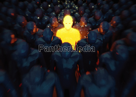 bright glowing man standing out from