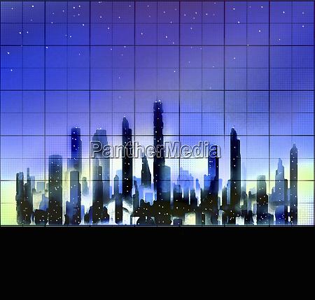 skyscraper buildings in city finance district