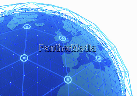 blue network grid covering globe focused