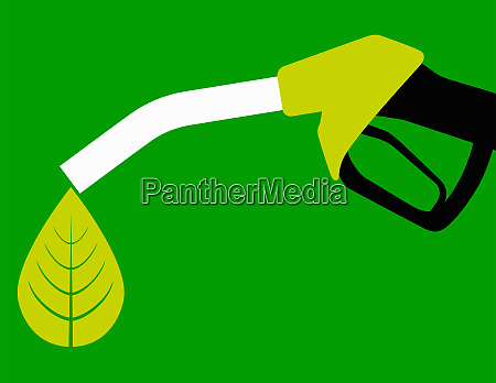 green leaf dripping from biofuel fuel
