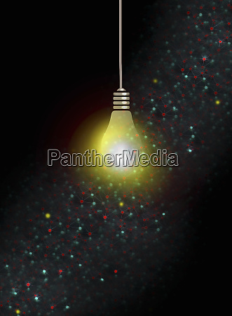 illuminated light bulb and network of