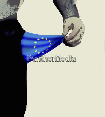 man with empty european union flag