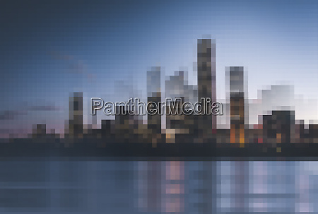 abstract pixellated cityscape on waterfront