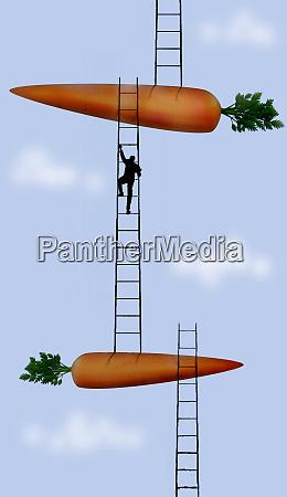 businessman ascending ladders between large carrots