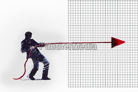 businessman restraining arrow from advancing on