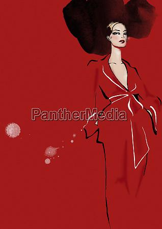 portrait of elegant woman in red