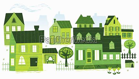 green buildings in neighborhood