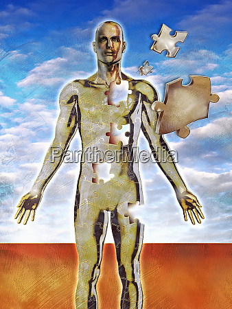 jigsaw puzzle of male human body