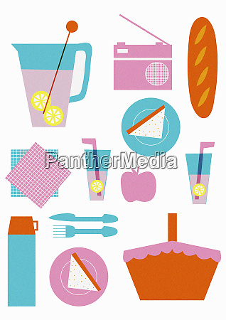 arrangement of picnic basket with food