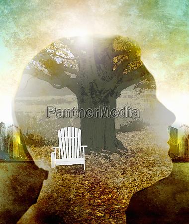 composite of tranquil rural scene inside