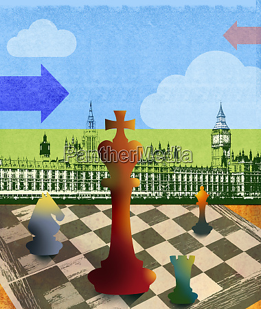 chess board pieces in front of