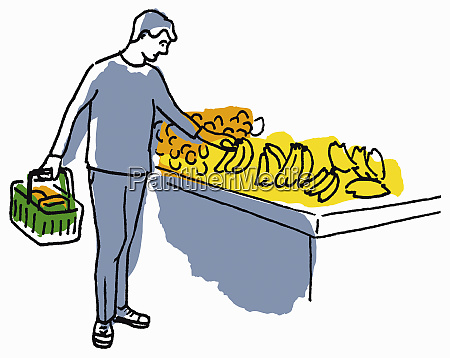 man shopping for bananas