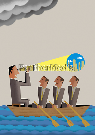man with telescope leading businessmen in