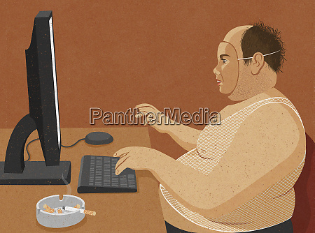 overweight unkempt middle aged man wearing
