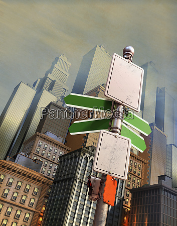 blank signpost in city financial district