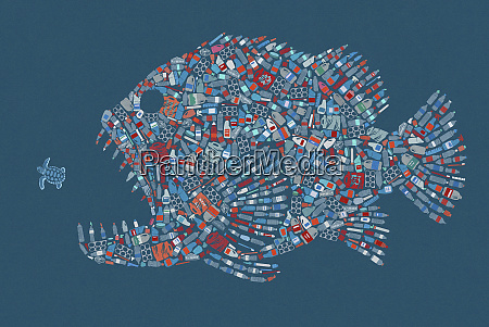 large fish formed from plastic waste