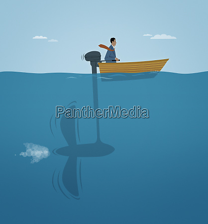 successful businessman in small motorboat with