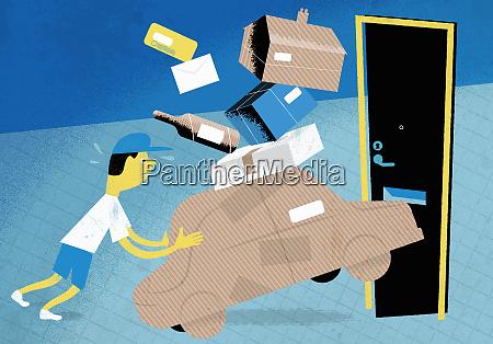 stressed postal worker struggling to deliver