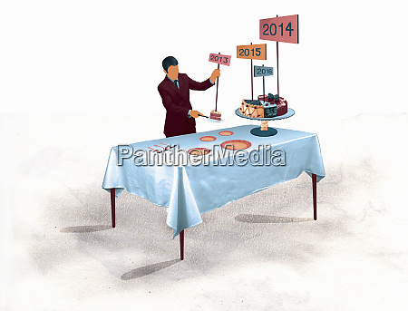 businessman serving annual shares of pie