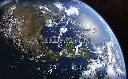 earth from space showing the united