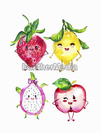 cute anthropomorphic fruit