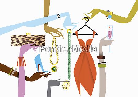 elegant female hands holding luxury fashion