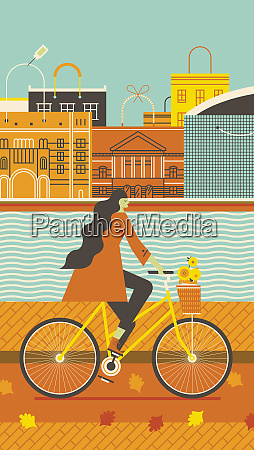 woman cycling beside canal in the