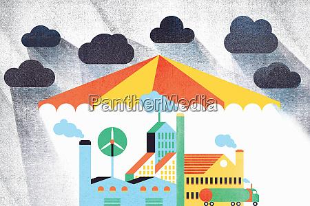 overcast sky above umbrella sheltering factories